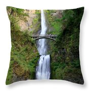 Greenery Of Multnomah Falls Throw Pillow