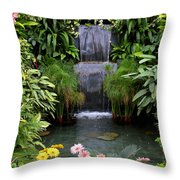 Greenhouse Garden Waterfall Throw Pillow