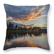 Greenlake Autumn Sunset Throw Pillow