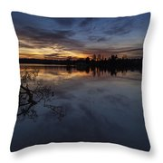 Greenlake Sunset With A Fallen Tree Throw Pillow