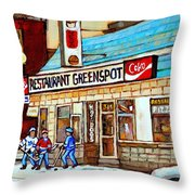 Greenspot Restaurant Notre Dame Street  South West Montreal Paintings Winter Hockey Scenes St. Henri Throw Pillow