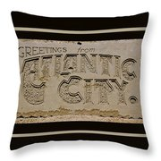 Greetings From Atlantic City Throw Pillow