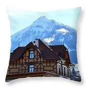 Greetings From Frutigen Throw Pillow