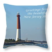Greetings From The Beautiful New Jersey Shore - Barnegat Lighthouse Throw Pillow