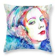 Greta Garbo - Colored Pens Portrait Throw Pillow