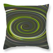 Grey And Green Twirl Throw Pillow