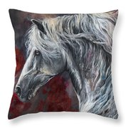 Grey Andalusian Horse Oil Painting 2013 11 26 Throw Pillow