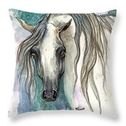 Grey Arabian Horse 2013 11 26 Throw Pillow