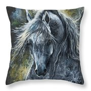 Grey Arabian Horse Oil Painting 2 Throw Pillow