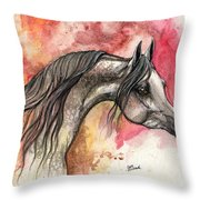 Grey Arabian Horse On Red Background 2013 11 17  Throw Pillow