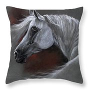 Grey Arabian Horse Soft Pastel Drawing 13 04 2013 Throw Pillow