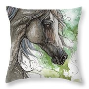 Grey Arabian Horse Watercolor Painting 1 Throw Pillow