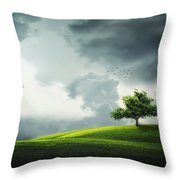 Grey Clouds Over Field With Tree Throw Pillow