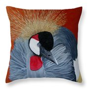 Grey Crowned Crane Throw Pillow