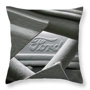 Grey Ford Tractor Logo Throw Pillow