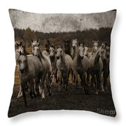 Grey Horses Throw Pillow