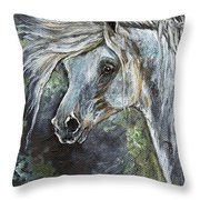 Grey Pony With Long Mane Oil Painting Throw Pillow