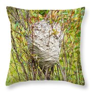 Grey Wasps Nest In Willow Bush Throw Pillow