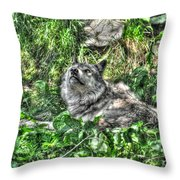 Grey Wolf Dreaming Throw Pillow by Skye Ryan-Evans