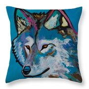 Grey Wolf Throw Pillow