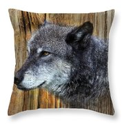 Grey Wolf On Wood Throw Pillow