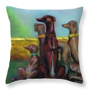 Greyhound Figurines Throw Pillow