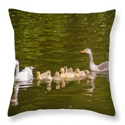 Greylag Goose Family Throw Pillow