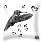 Greyscale Hummingbird - 2055 F S M Throw Pillow