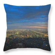 Griffith Observatory L.a. Skyline Dusk Lit Beautiful Throw Pillow