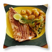 Grilled Fish Throw Pillow