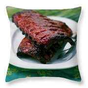 Grilled Ribs On A White Plate Throw Pillow