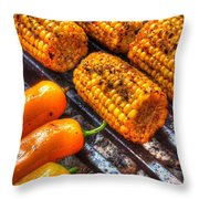 Grilling Corn And Peppers Throw Pillow