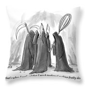 Grim Reapers Stand In A Circle Throw Pillow