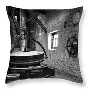 Grinder For Unmalted Barley In An Old Distillery Throw Pillow