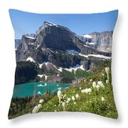 Grinnell Lake With Beargrass Throw Pillow
