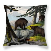 Grisly Bear Throw Pillow