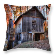 Grist Mill Under Fall Foliage Throw Pillow