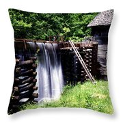 Grist Mill And Water Trough Throw Pillow
