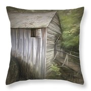 Grist Mill At Cades Cove Throw Pillow