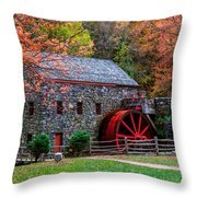 Grist Mill In Autumn Throw Pillow