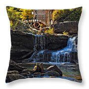 Grist Mill In Babcock State Park West Virginia Throw Pillow