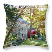 Grist Mill In Fall Throw Pillow