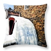 Grist Mill In Winter Throw Pillow