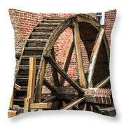 Grist Mill Water Wheel In Hobart Indiana Throw Pillow by Paul Velgos