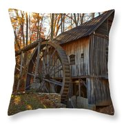 Grist Mill With A Golden Glow Throw Pillow