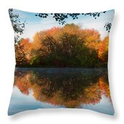 Grist Millpond Framed Throw Pillow by Michael Blanchette