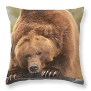 Grizly Lunch Throw Pillow