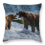 Grizzlies Fighting Throw Pillow