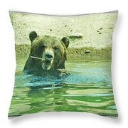 Grizzly Bath Throw Pillow