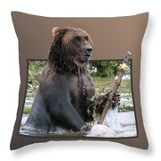 Grizzly Bear 6 Out Of Bounds Throw Pillow